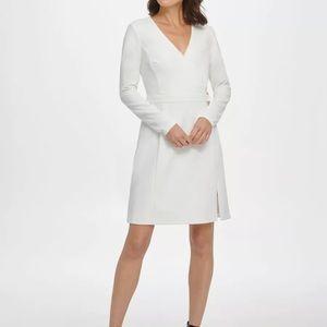 DKNY Ivy White Faux Wrap Belted Princess Cut Dress